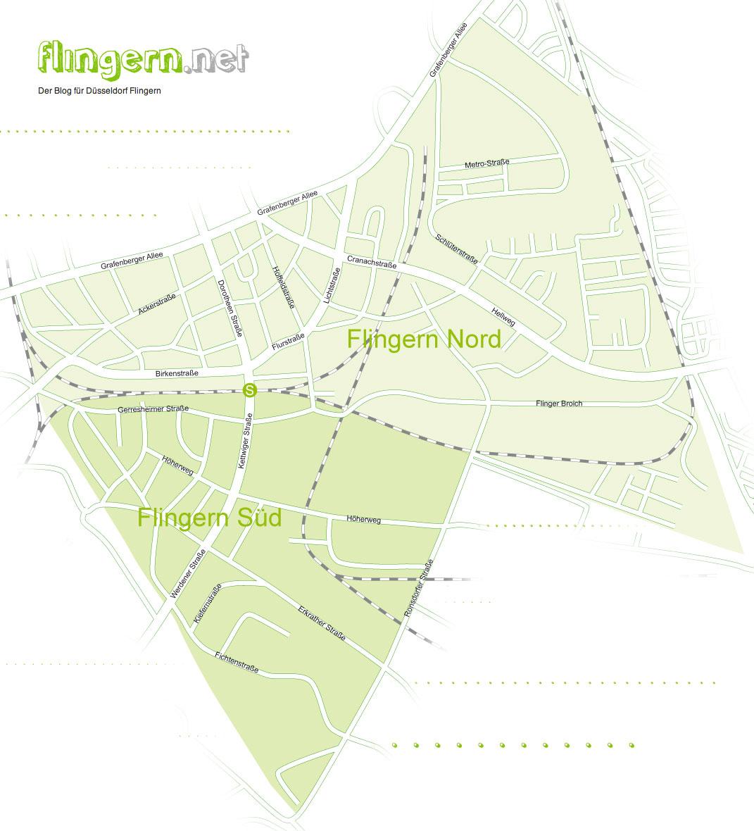 Düsseldorf Karte.Der Stadtteil Düsseldorf Flingern Karte Mit Aufteilung